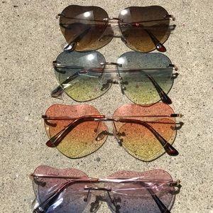 NEW Rimless Beveled Heart Shape Crystal Sunglasses